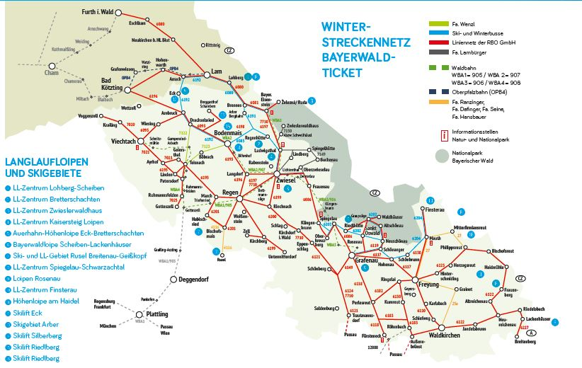 Bayerischer Wald Karte Kostenlos.Streckennetz überblick Winter Bayerwald Ticket