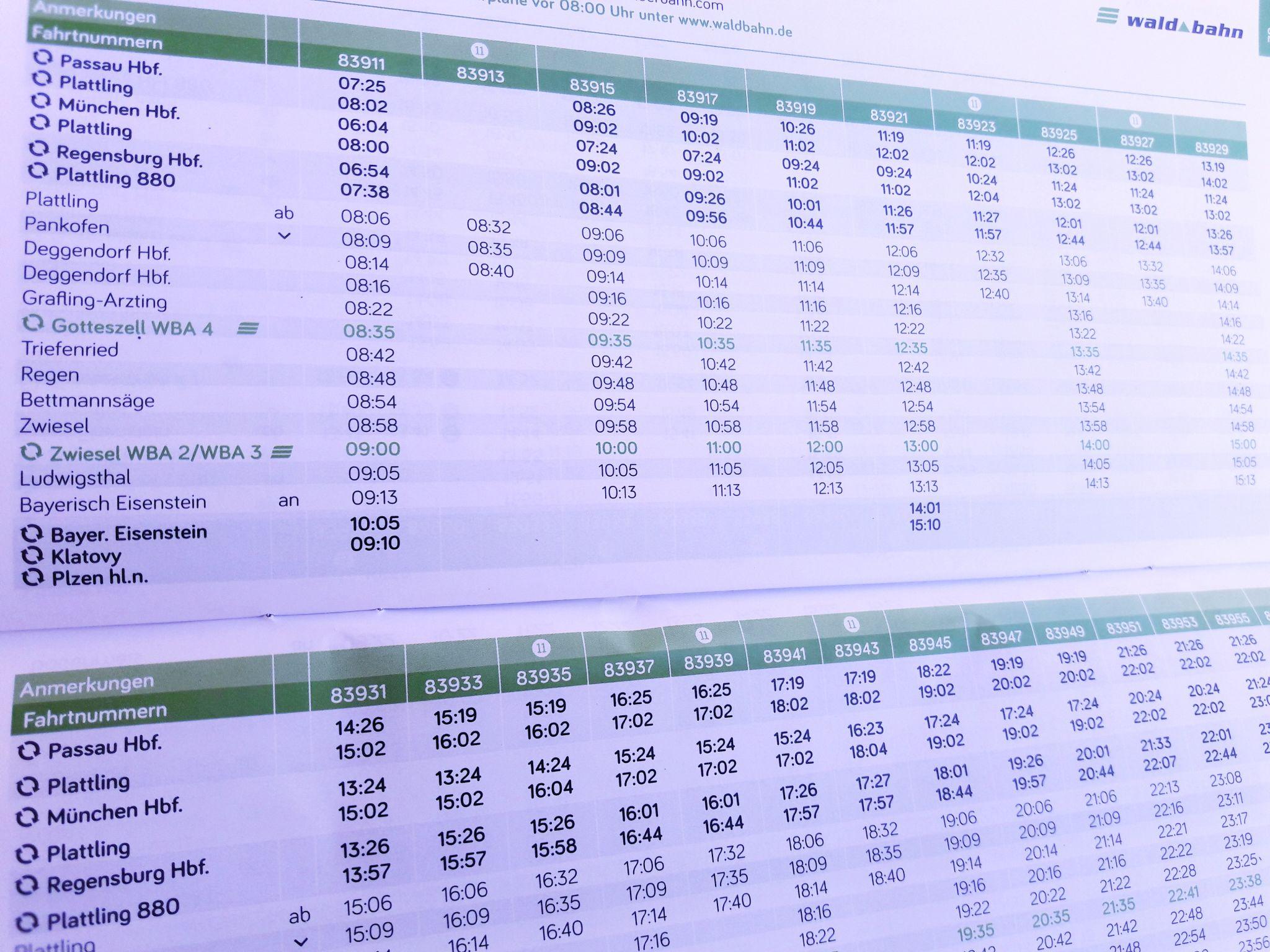 Alle Fahrpläne Im Tarifgebiet Bayerwald Ticket Guti