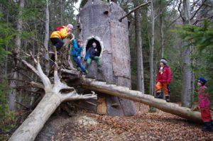 Kinder im Waldspielgelände